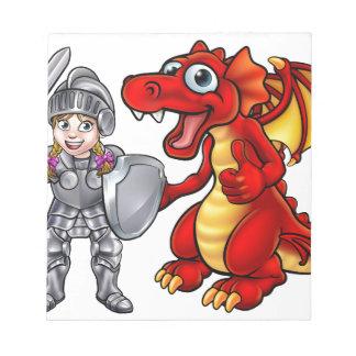Cartoon Dragon and Knight Notepad