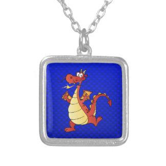 Cartoon Dragon; Blue Necklace