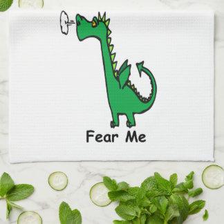 Cartoon Dragon Fear Me Tea Towel