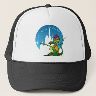 Cartoon Dragon Wizard Trucker Hat