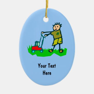 Cartoon Drawing Man Mowing Grass Ceramic Oval Decoration