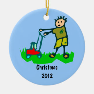 Cartoon Drawing Man Mowing Grass Christmas Ornament