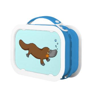 Cartoon duck-billed platypus lunchboxes