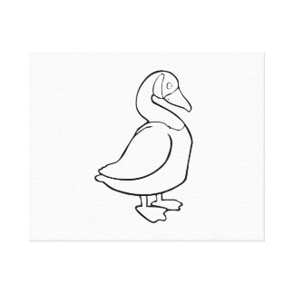 Cartoon Duck Stretched Canvas Print