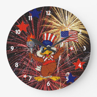 Cartoon Eagle and Fireworks Clock