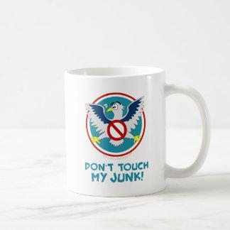 Cartoon Eagle Don't Touch My Junk Funny TSA Logo Basic White Mug