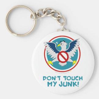 Cartoon Eagle Don't Touch My Junk Funny TSA Logo Basic Round Button Key Ring