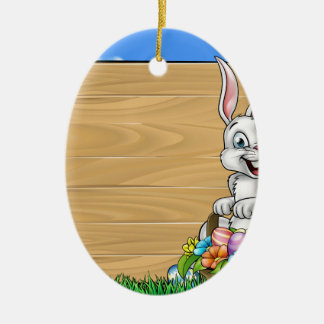 Cartoon Easter Bunny Background Sign Ceramic Oval Decoration