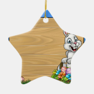 Cartoon Easter Bunny Background Sign Ceramic Star Decoration