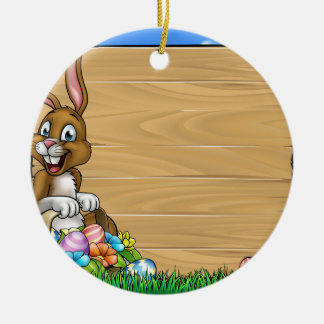 Cartoon Easter Bunny Eggs Background Sign Round Ceramic Decoration