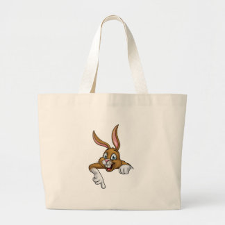 Cartoon Easter Bunny or Rabbit Pointing Large Tote Bag