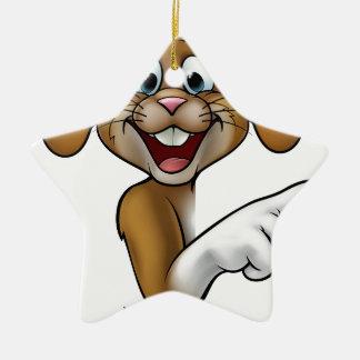 Cartoon Easter Bunny Rabbit Pointing Christmas Ornament