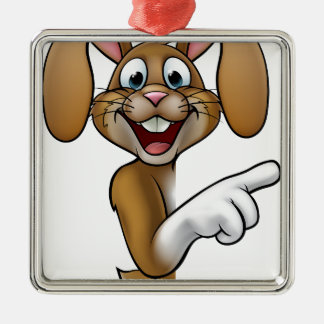 Cartoon Easter Bunny Rabbit Pointing Silver-Colored Square Decoration
