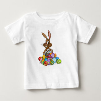 Cartoon Easter Bunny with Eggs Basket Baby T-Shirt