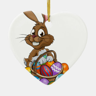 Cartoon Easter Bunny with Eggs Basket Ceramic Heart Decoration