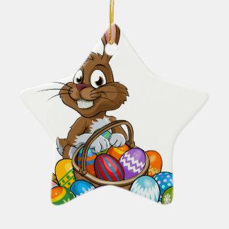 Cartoon Easter Bunny with Eggs Basket Ceramic Star Decoration