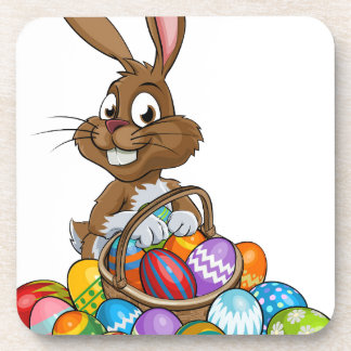 Cartoon Easter Bunny with Eggs Basket Drink Coasters