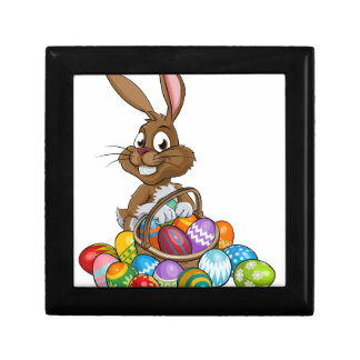 Cartoon Easter Bunny with Eggs Basket Small Square Gift Box