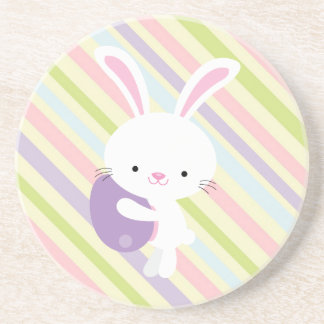 Cartoon Easter Rabbit with Stripes Coaster