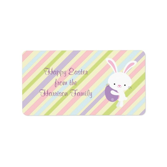 Cartoon Easter Rabbit with Stripes Labels