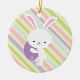 Cartoon Easter Rabbit with Stripes Ornament
