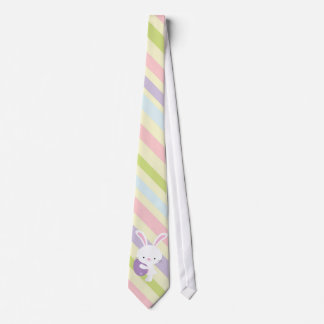 Cartoon Easter Rabbit with Stripes Tie