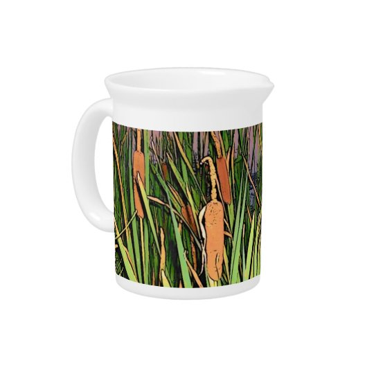 Cartoon Effect Cattails Pitcher