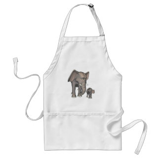 Cartoon Elephant Mother and Son Aprons