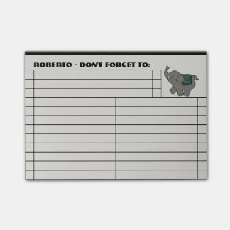 Cartoon Elephant To Do List - Personalized Post-it Notes