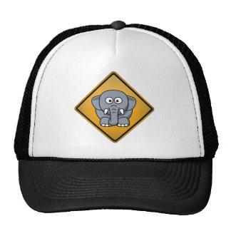 Cartoon Elephant Warning Sign Trucker Hats