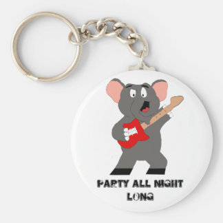 Cartoon Elephant With Guitar Key Ring