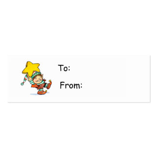 Cartoon Elf Gift Tag Pack Of Skinny Business Cards