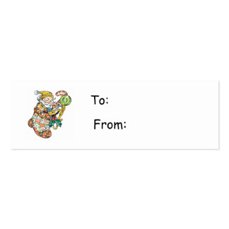 Cartoon Elf in Christmas Stocking Gift Tag Business Card