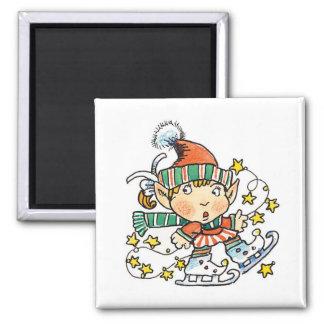 Cartoon Elf on Ice Skates Square Magnet