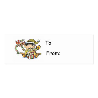 Cartoon Elf Wrapping a Present Gift Tag Pack Of Skinny Business Cards