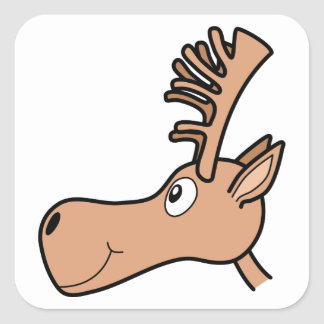 Cartoon Elk Moose. Square Sticker