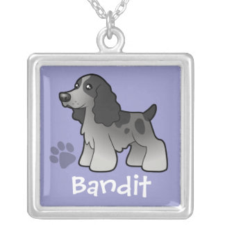 Cartoon English Cocker Spaniel (add pets name) Silver Plated Necklace