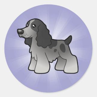 Cartoon English Cocker Spaniel Round Sticker