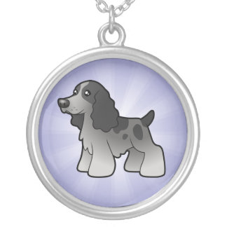 Cartoon English Cocker Spaniel Silver Plated Necklace