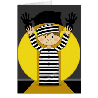 Cartoon Escaped Prisoner in Spotlight Card