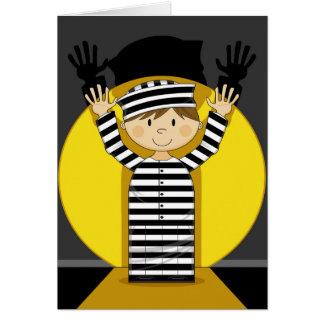 Cartoon Escaped Prisoner in Spotlight Greeting Card