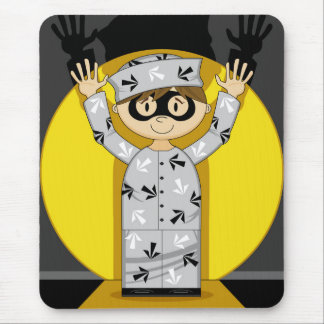 Cartoon Escaped Prisoner in Spotlight Mouse Pad