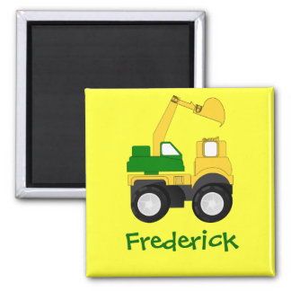 Cartoon Excavator - Personalized Name Gift Square Magnet