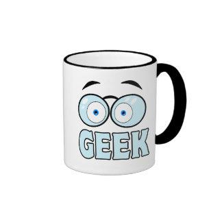 Cartoon Eyes With Glasses GEEK Ringer Coffee Mug