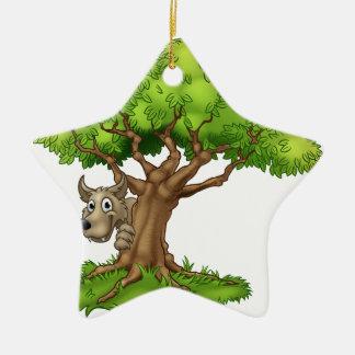 Cartoon Fairytale Big Bad Wolf and Tree Christmas Ornament