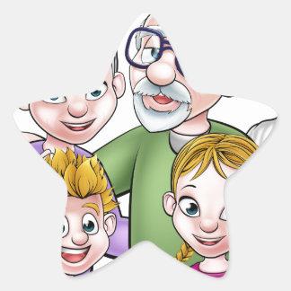 Cartoon Family Star Sticker