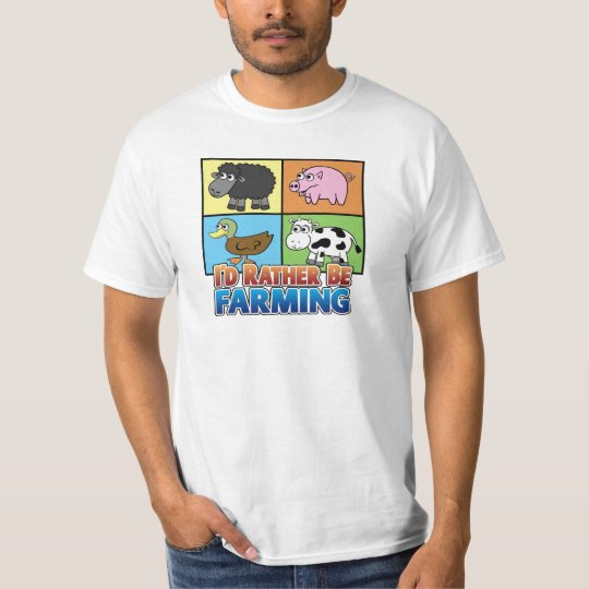Cartoon Farm Animal - I'd rather be farming! T-Shirt