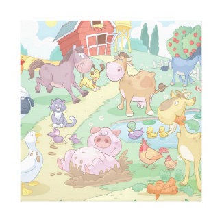 Cartoon Farm Animals/Wrapped Canvas Stretched Canvas Prints