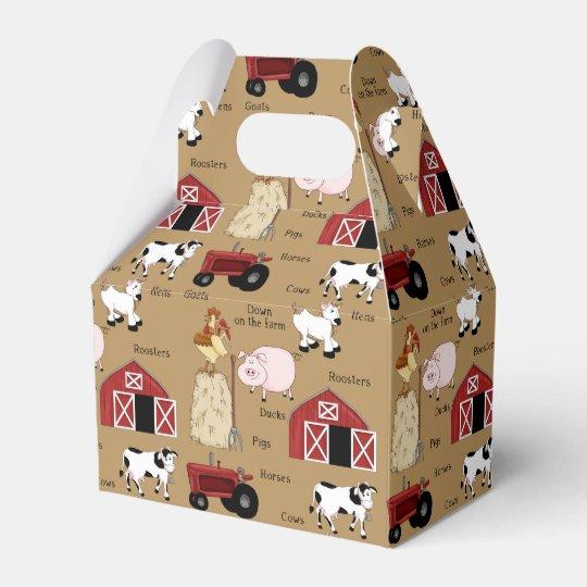 Cartoon Farm pattern Gable favour box