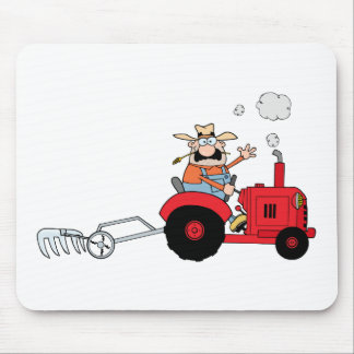 Cartoon Farmer Driving A Red Tractor Mouse Mat